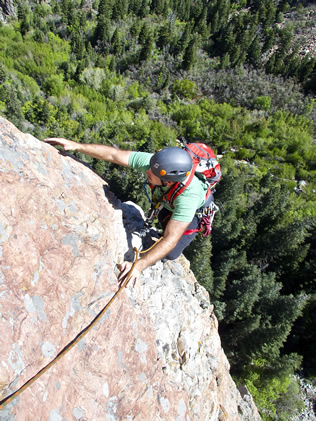 Reaching high on Steort's Arete