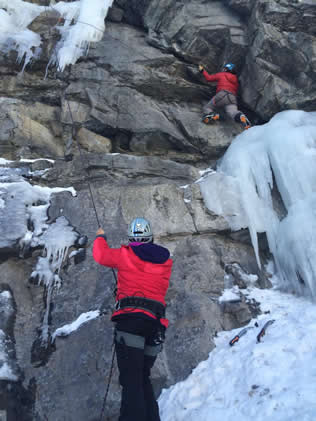 Dry tooling on a mixed ice route in Provo Canyon